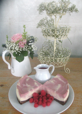 Raspberry swirl cheesecake at a country wedding small