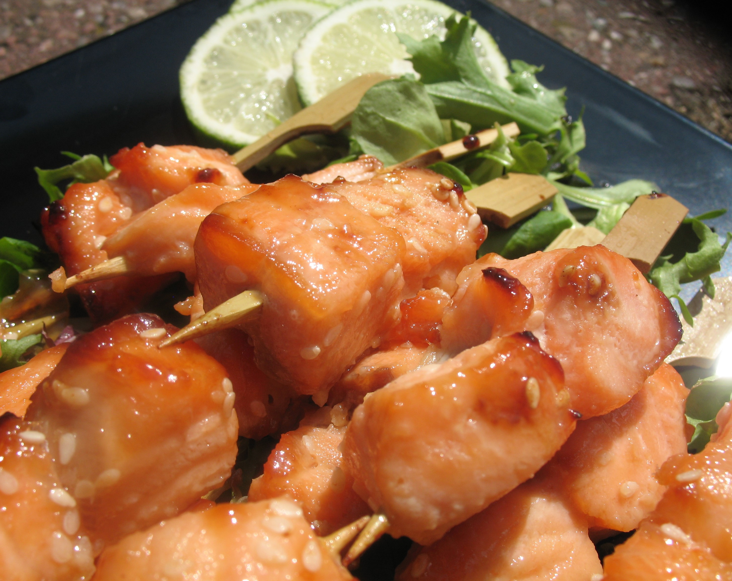 Sweet  sticky salmon skewers 2